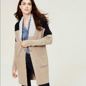 LOFT Italian Yarn Color Block Long Cardigan/Coat